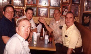 Tony Poe – back right; Jack Shirley – front-right, at a bar in Bangkok